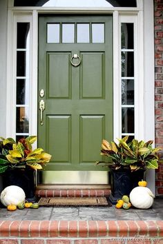 Olive green front door. Beautiful!