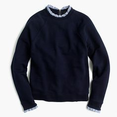 J.Crew+-+Sweatshirt+with+ruffle+trim