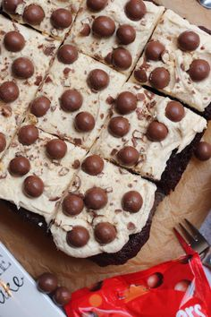 Thick and Fudgey Malteser Traybake Cake with a Malt Fudge Sponge, Malt Buttercream Frosting and Maltesers! Perfect for parties and Malteser fans! Chocolate Coconut Slice, Twix Chocolate, Tray Bake Recipes, Sheet Cake Recipes, Malteaser Cake, Fun Desserts, Delicious Desserts, Traybake Cake, Janes Patisserie