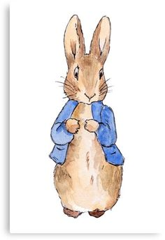rabbit illustration children 'Peter Rabbit Beatrix Potter' Canvas Print by ArtbyCPolidano Peter Rabbit Party, Peter Rabbit Cake, Peter Rabbit Birthday, Peter Rabbit Nursery, Rabbit Png, Rabbit Baby, Coelho Peter, Rabbit Wedding, Beatrix Potter Illustrations