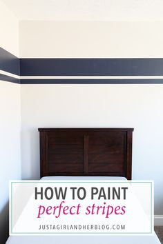 I've always wondered how people paint perfect stripes on walls and this post shares the secret! It's genius and I never knew it was so easy! Click through to the post to see how! I've always wondered Striped Walls Bedroom, Striped Room, Bedroom Wall, Bedroom Decor, Stripe Walls, Wall Stripes, Bedroom Black, Painting Stripes On Walls, Painting Designs On Walls