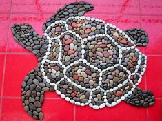 """Items similar to The mat of sea pebbles """"Sea turtle"""" on Etsy Mosaic Rocks, Pebble Mosaic, Pebble Art, Mosaic Garden Art, Mosaic Art, Mosaic Crafts, Mosaic Projects, Seashell Crafts, Beach Crafts"""