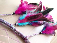 Dream Catcher - Nightly Sky - Purple, Pink, Turquoise - Colorful Feathers and Nett, Purple Frame - Home Decor, Mobile.  via Etsy.