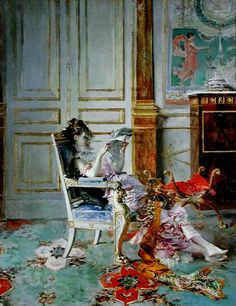 Girl Reading in a Salon (1876).Giovanni Boldini (Italian,Impressionism, 1842-1931). Oil oncanvas. In October 1871, Boldini began his Parisian career. Over the next twenty years Boldini explored many different subjects: small genre scenes, such as Girl Reading, as well as city views, suburban landscapes, and informal depictions of musicians, performers, and café-goers. Many of these same subjects appeared in the works of a group of avant-garde Impressionists active at the same time.
