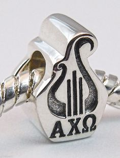 Alpha Chi Omega ΑΧΩ Lyre Large Hole Euro Bead Charm Double Faced .925 Sterling
