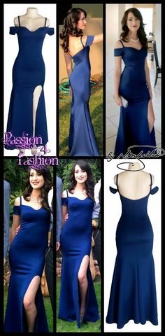 Ink blue fitted matric dance dress with off shoulder cap sleeves and spaghetti straps, slit and a sweetheart neckline. #mariselaveludo #fashion #matricdance #matricdress #passion4fashion #inkbluedress #sexy #promdress #eveningwear