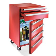 "perfect gift for your husband's ""man cave"", the Toolbox Fridge is a handy-man inspired item that he's sure to love.The perfect gift for your husband's ""man cave"", the Toolbox Fridge is a handy-man inspired item that he's sure to love. Man Cave Basement, Man Cave Garage, Car Man Cave, Garage Organization, Garage Storage, Organized Garage, Workshop Organization, Tool Storage, Garage Atelier"