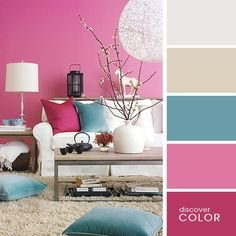 The living room color schemes to give the impression of a more colorful living. Find pretty living room color scheme ideas that speak your personality. Home Interior, Interior Design, Design Apartment, Living Room Color Schemes, Creative Colour, Bedroom Colors, Home Look, Home Accents, Colorful Interiors