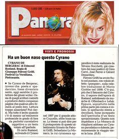 19 agosto 1999 - Roberto Barbolini su Cirano di Bergerac di Edmond Rostand, regia di Giuseppe Patroni Griffi con Sebastiano Lo Monaco