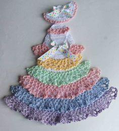 crochet caroline lady doilies | ... or Easter Theme Crinoline Lady Hand Crochet Doily w Pastel Ruffles