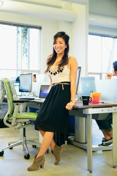 Kat Ng, Account Coordinator, H&M tank top, Foreign Exchange skirt, Net belt, Steve Madden booties, and Movado watch