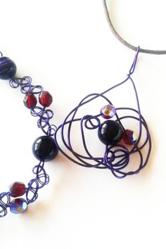 Handcrafted Purple Agate Pendant Necklace and Bracelet Set