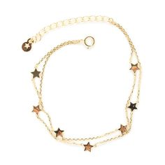 2 Row Cable Chain Bracelet Cute 7 Stars Gold Plated