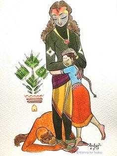 Krishna premi-#watercolour #krishnafortoday
