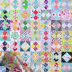 Four Patch in a Square Scrap Quilt © Red Pepper Quilts 2020 Scrappy Quilt Patterns, Hexagon Quilt, Scrappy Quilts, Easy Quilts, 16 Patch Quilt, Quilt Blocks, Straight Line Quilting, Quilting Projects, Quilting Ideas