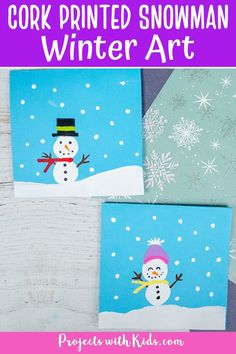Make this adorable cork printed snowman painting with kids using only a few simple supplies. A great winter art project idea!