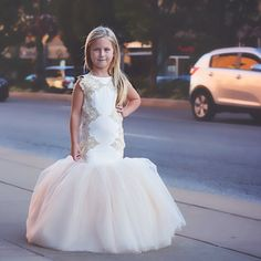 Mermaid Style Dress for Girls - Customized the color of the lace and tulle for your wedding or other events - Elina Dress - Baby Shop Online