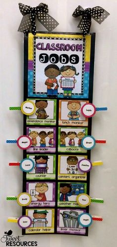 Keep track of classroom jobs this year with this cheerful Polka Dot Brights Classroom Jobs Clip Chart package. This set is designed to be a classroom job clip chart. To keep track of classroom jobs, simply hang up the chart in your classroom and use cloth Classroom Organisation, Classroom Displays, School Organization, Organization Ideas, Classroom Helpers, Classroom Job Chart, Future Classroom, Preschool Job Chart, Preschool Classroom Jobs