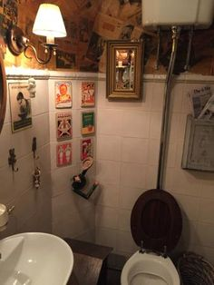 I had to take a picture in the bathroom with the old school facilities & the vintage Russian dec Lodge Style, Old School, Old Things, Bathroom, Vintage, Washroom, Chalet Style, Full Bath, Vintage Comics