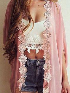 Pink Boho Applique Kimono