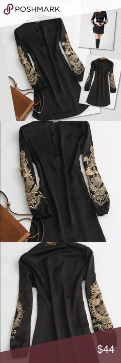 Tunic with embroidery on sleeves Tunic with embroidery on sleeves.  Polyester blend. New without tags retail. Never worn. Ships within one week. Shop Nicety Tops Blouses