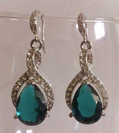 Teal Green Earrings, Peacock Wedding Jewelry, Teardrop Bridal Accessories, TEAL TWIRL. $49.00, via Etsy.