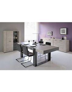 Salle à manger complète contemporaine couleur gris clair et foncé anthracite RAGNAR