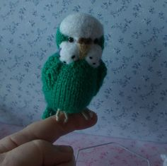 'Grace' the Knitted and Needle Felted Budgerigar - Handmade Budgie by Effamay