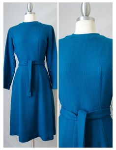 60s Vintage Teal Wool Long Sleeved Day by RedLightVintageShop