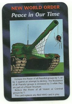 Peace in Our Times NWO Illuminati CCG Unlimited Plot Card. Illuminati: New World Order (INWO) is a collectible card game (CCG) that was released in 1995[1] by Steve Jackson Games, based on their original boxed game Illuminati, which in turn was inspired by The Illuminatus! Trilogy. INWO won the Origins Award for Best Card Game in 1997.