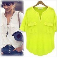 2014 nuevo verano de la moda las mujeres de manga corta blusas de algodón modal con cuello en V señoras de las mujeres camisetas