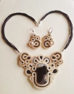 Soutache, agate, onyx and silver necklace