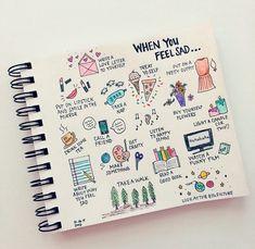 ¿Cuando te sientes triste? ¿Qué haces? Aquí unas ideas que deberían quedar en tu bullet journal como guía de ayuda. #Inspiración #BulletJournal