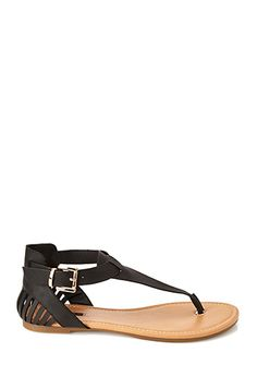 Cutout T-Strap Sandals | FOREVER21 - 2000067881