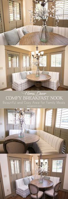 Breakfast nook (also known as a dining nook) ideas for a corner space ideas. Plantation shutters and a gorgeous banquette from@BallardDesigns makes this space an especially cozy and comfortable space for family meals every night of the week. From blogger www.sengerson.com.