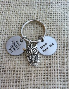 owl always love you personalized keychain handstamped 3/4 inch stainless steel custom gift for  sister brother mother father anniversary on Etsy, $16.00