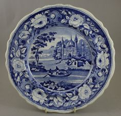 Antique Pottery Pearlware Blue Transfer Davenport Fisherman & Mosque Plate 1820