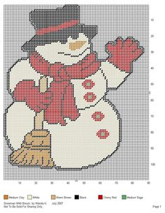 Snowman With Broom Wall Hanging Plastic Canvas Coasters, Plastic Canvas Ornaments, Plastic Canvas Christmas, Plastic Canvas Crafts, Plastic Canvas Patterns, Needlepoint Patterns, Cross Stitch Patterns, Christmas Wall Hangings, Craft Patterns
