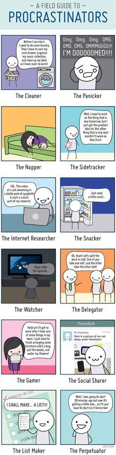 A field guide to procrastinators…