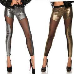 Girl night bar club sexy leggings women summer leggings punk gold silver leggings fashion Transparent mesh Legging for lady