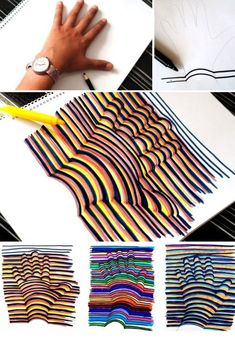 Draw the outline of your hand and then, while drawing a straight line, you curve the line when it meets the contour of your hand. This is how you draw a 3D image of your hand!