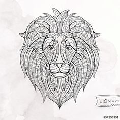 Patterned head of lion