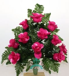 Gorgeous Pink Roses Cemetery Arrangement For Mausoleum #Crazyboutdeco