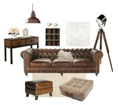 A home decor collage from February 2016 featuring leather ottomans, Steve Silver and black floor lamp.