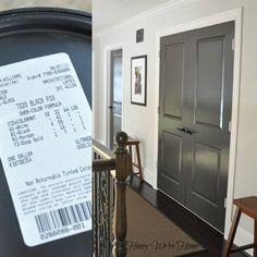 Painted Dark Grey Doors - Sherwin Williams, Black Fox.  Dark gray with a little brown in it.