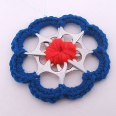 Blue and Red Recycled Silver Can Tab Christmas Flower Ornament | SuzanneMedrano - Seasonal on ArtFire
