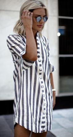 Gray and white striped shirt dress