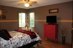 The master bedroom is on the main level and has lots of space and light.