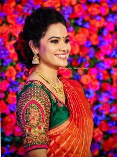 Contrast designer blouse with beautiful work. Cutwork Blouse Designs, Wedding Saree Blouse Designs, Half Saree Designs, Pattu Saree Blouse Designs, Fancy Blouse Designs, Wedding Sarees, Blouse Patterns, Bridal Sarees, Lehenga Designs