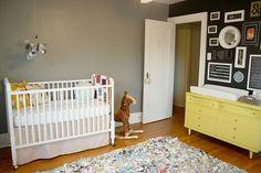 white crib, gray room